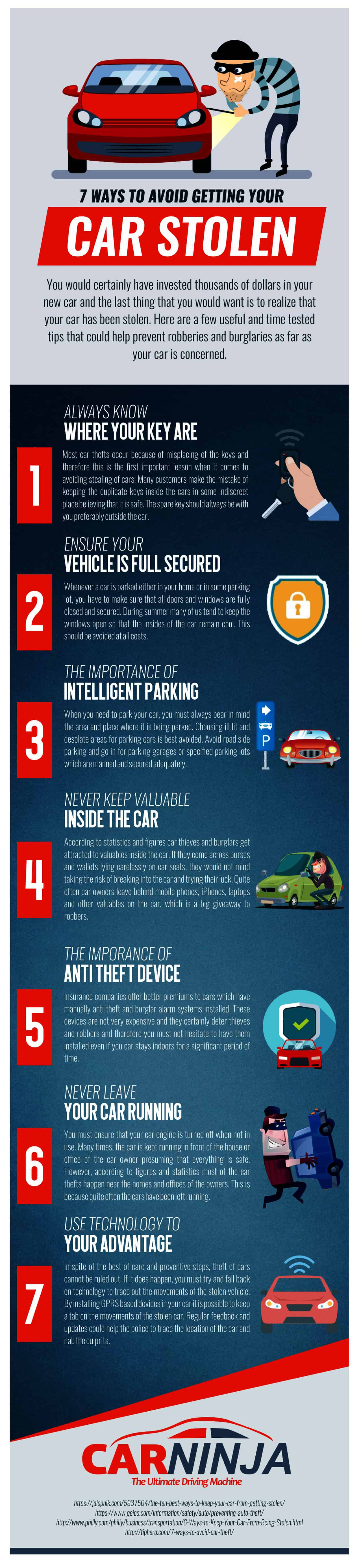 7 Ways To Avoid Getting Your Car Stolen Infographic